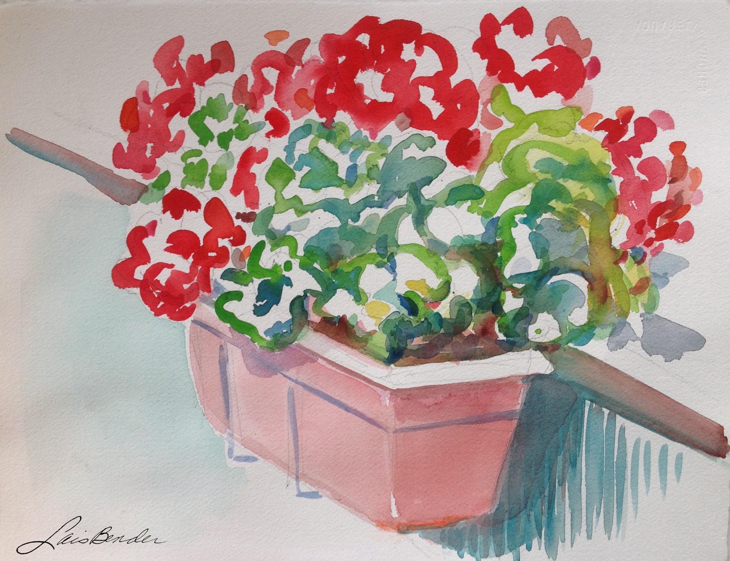 """""""Brigitte's Potted Geraniums in Paris"""""""