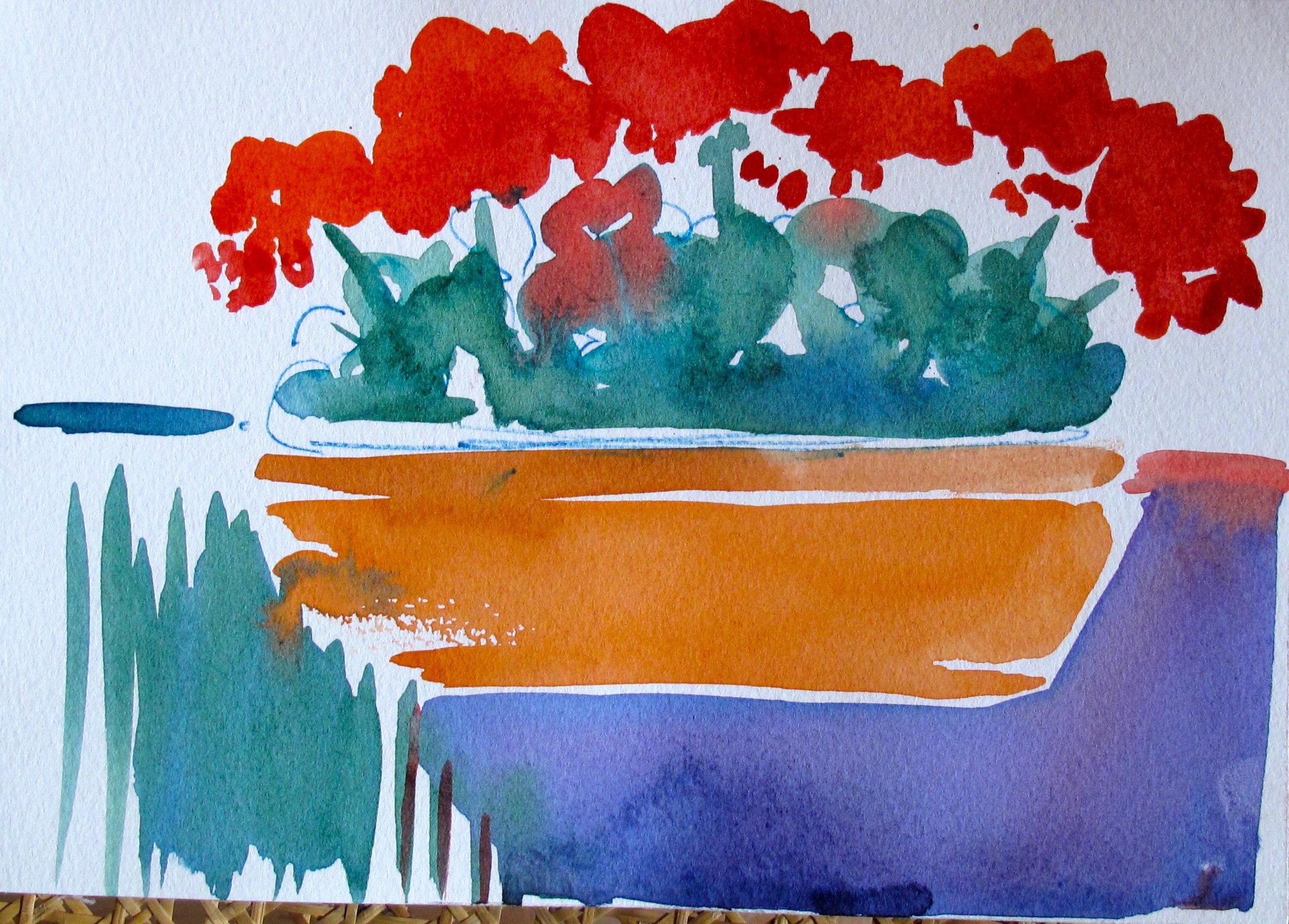 """Potted Geraniums Sketch"""