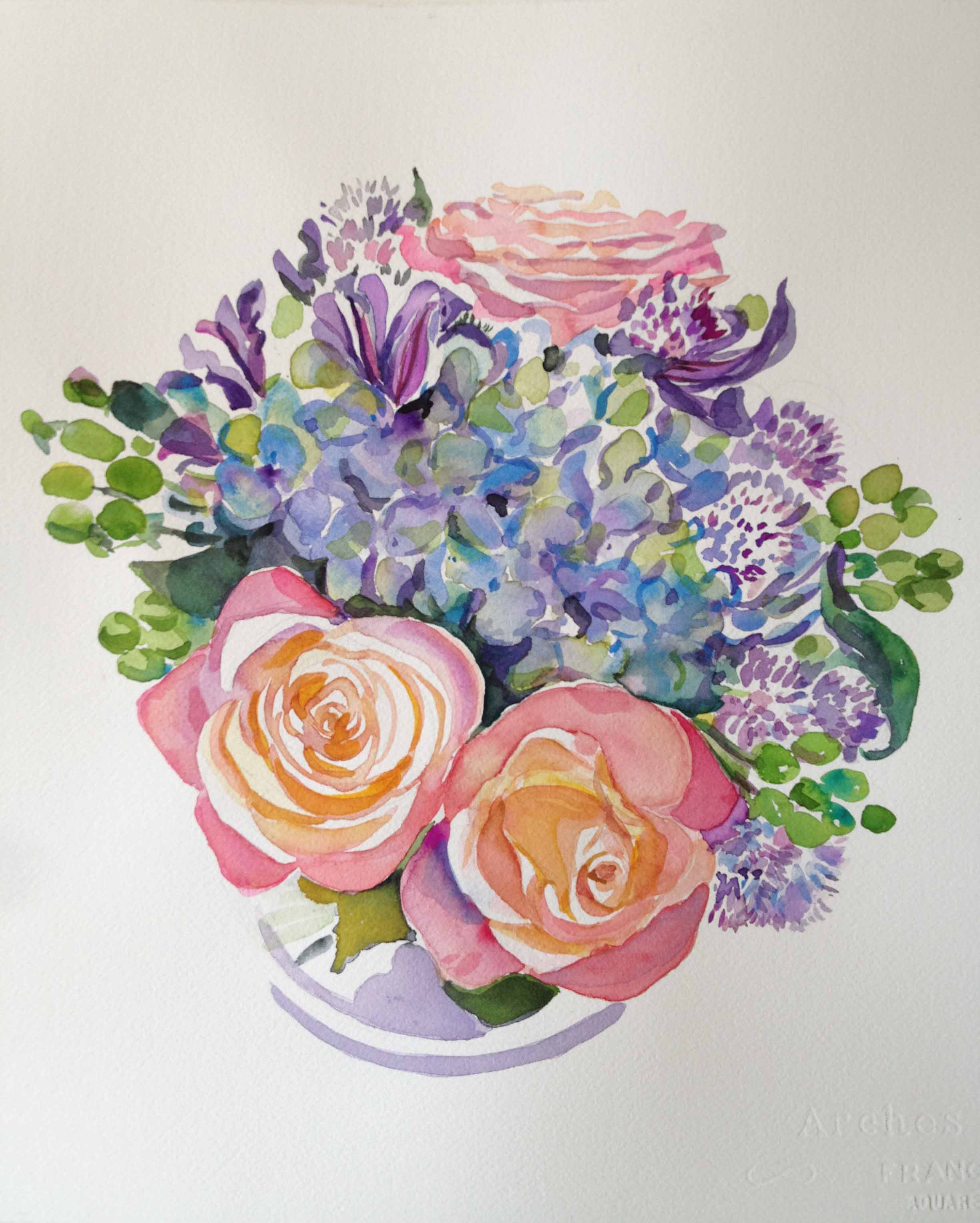 """""""Blue Hydrangea & Coral Roses Bouquet I"""""""