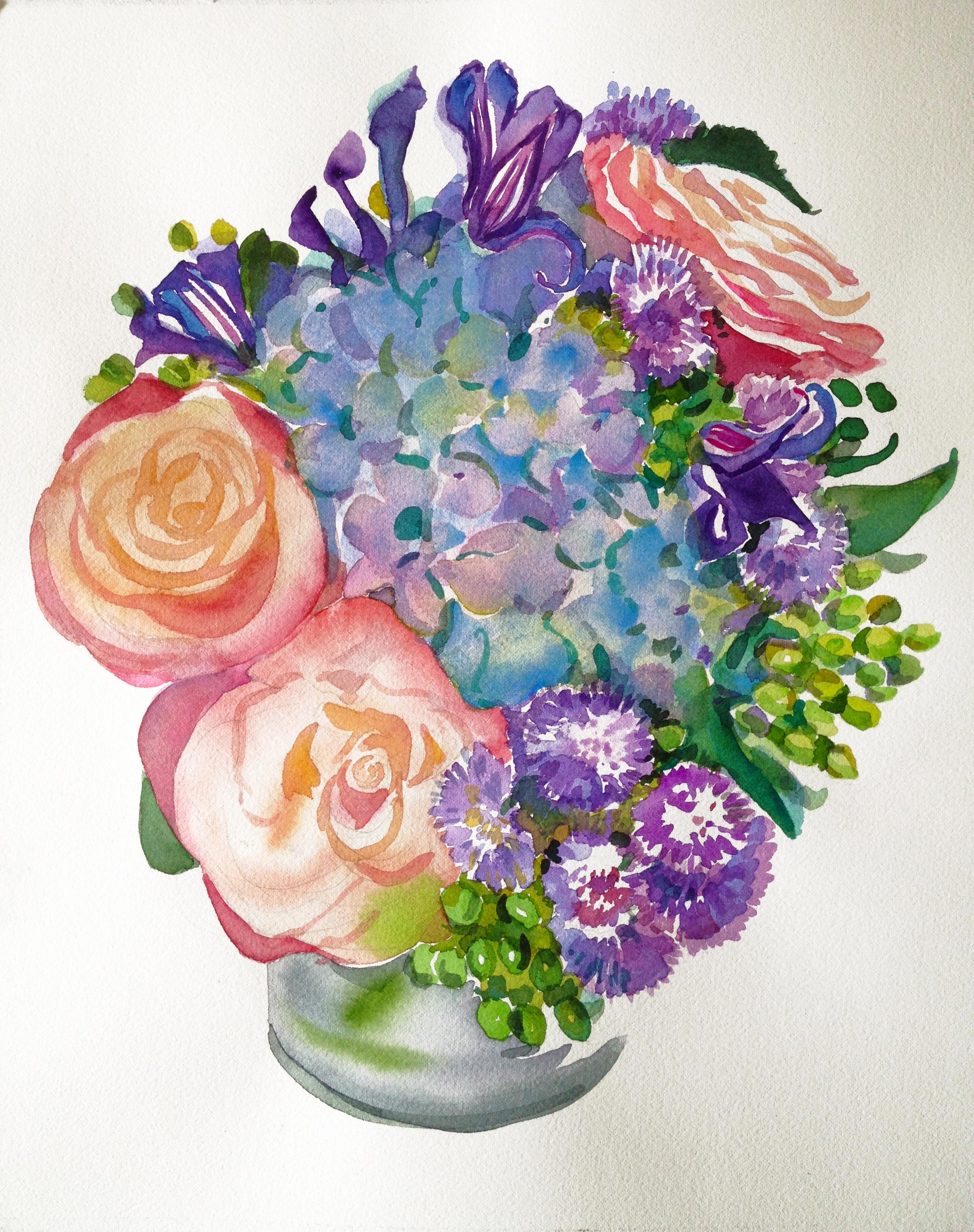 "Watercolor ""Blue Hydrangea & Coral Roses Bouquet III"""