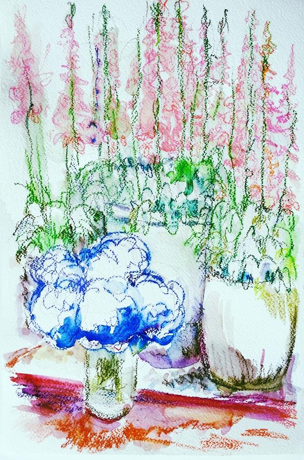 Foxgloves and Hyacinths