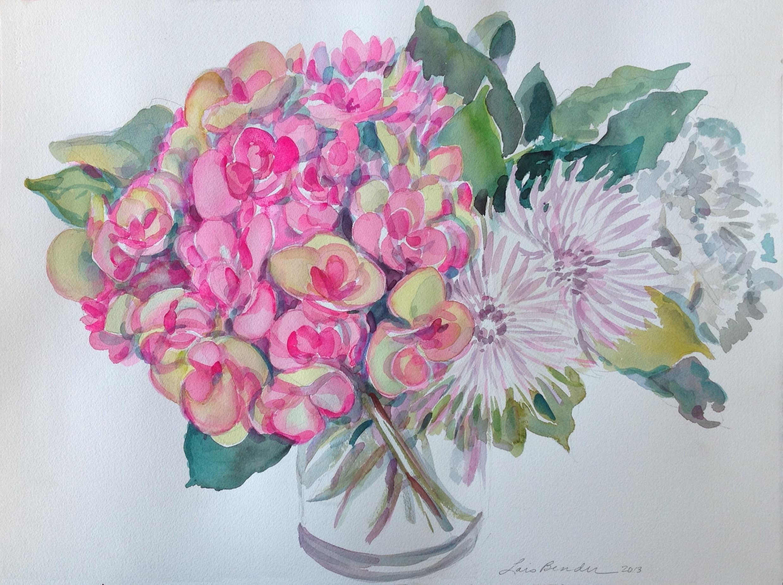 """Pink & Green Hydrangeas Bouquet"""