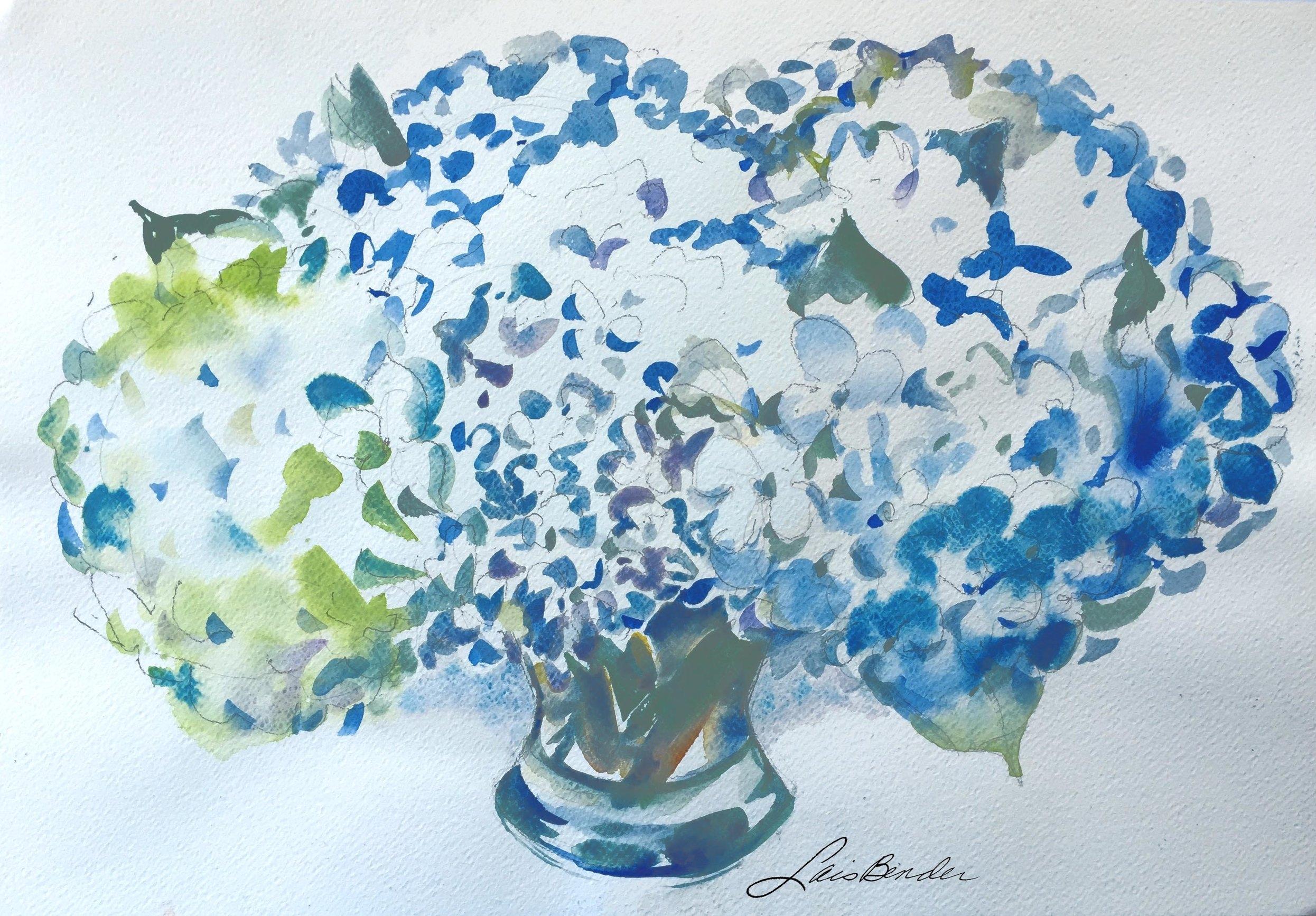 """Blue Hydrangeas I"""