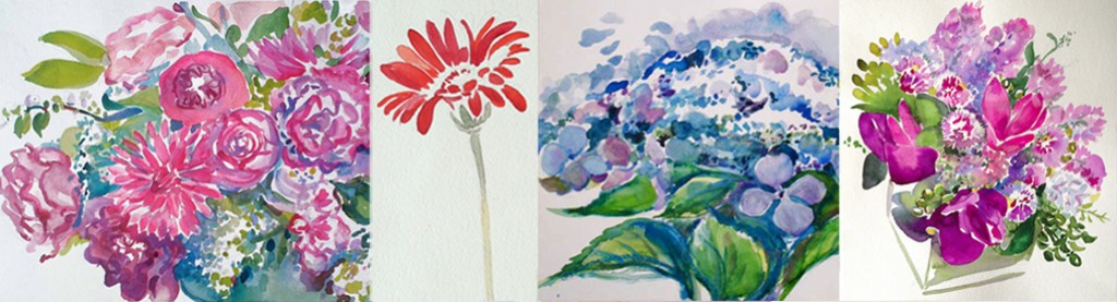 Watercolor Flower Studies of Bouquet Floral Arrangements