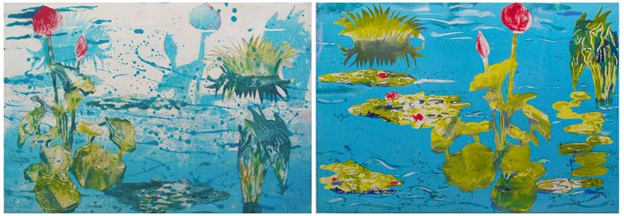 "Waterlily ""Blue Pond Splash!"" Diptych"