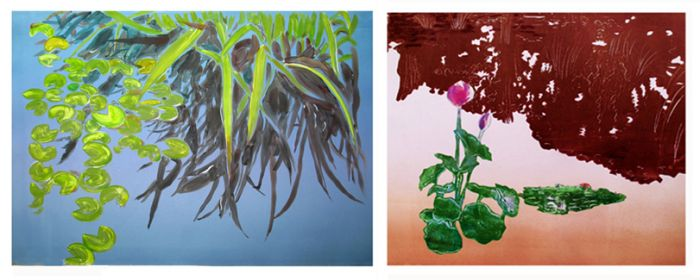 """Silver Blue Pond"" Monoprint & ""Sunset Pond"" Monoprint"