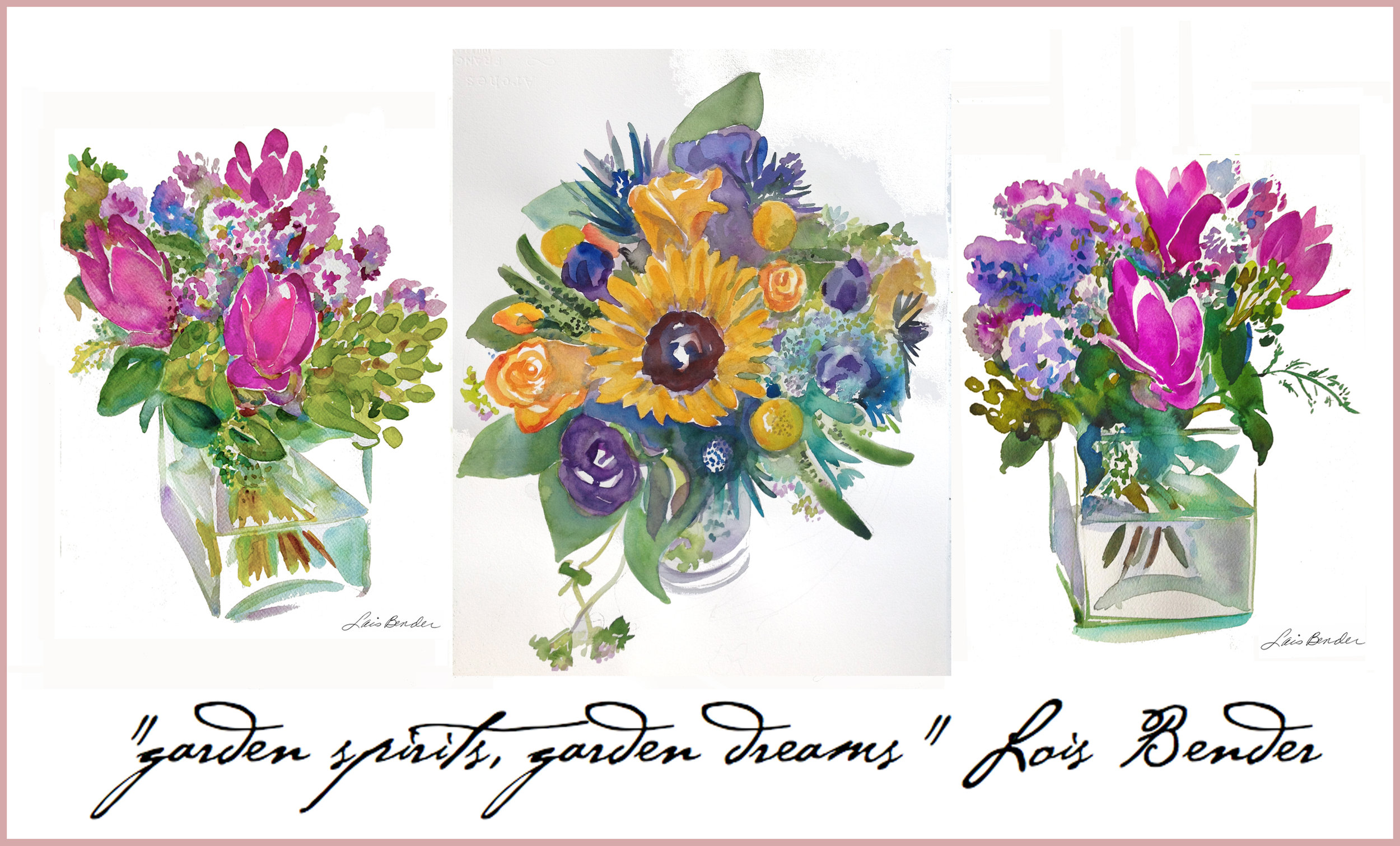 Flora Bloom Bouquets in watercolor by Lois Bender