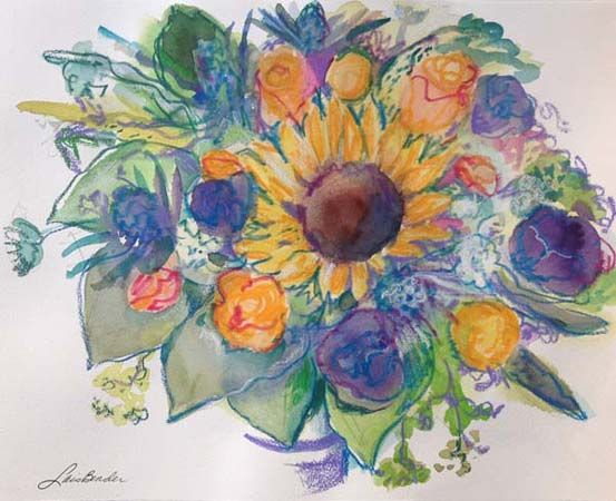 %22Sunflower, Roses, Thistle and Anemone I%22 17%22 x 13%22 Watercolor and Caran d'Arche crayons.jpg