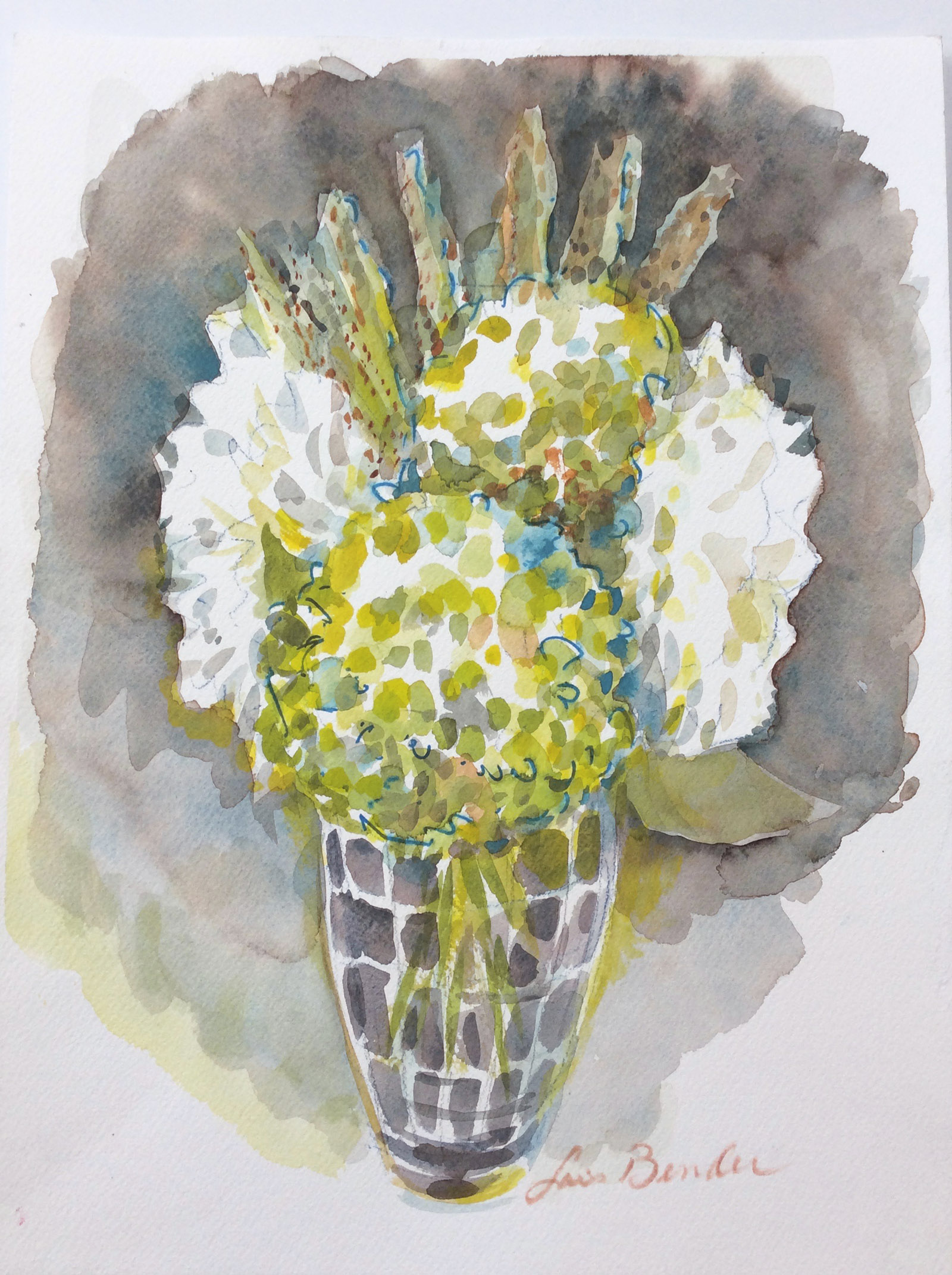 Light Green Hydrangeas and Dahlias... Green emerging out of gray winters
