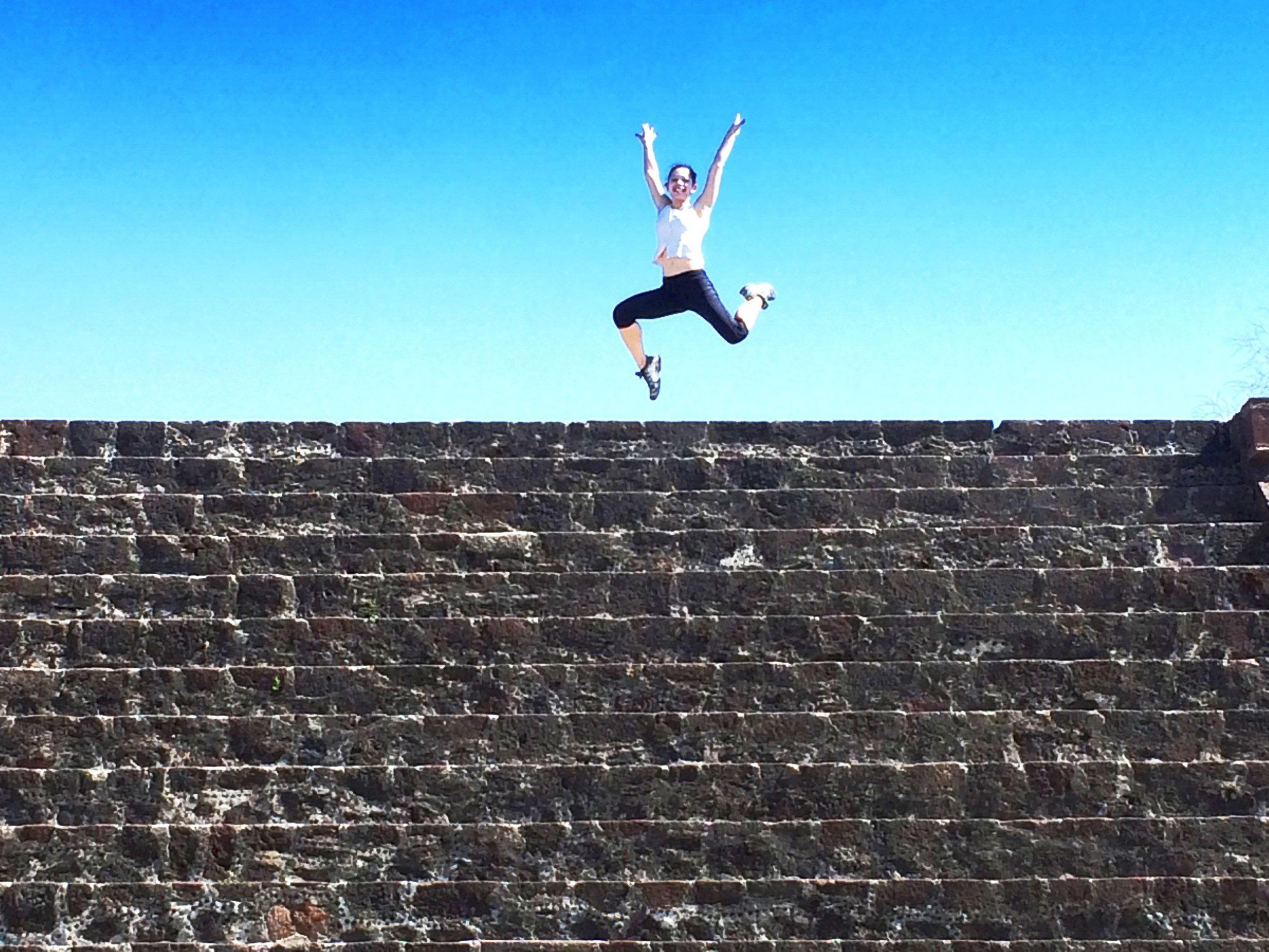 Jumping above a minor pyramid.