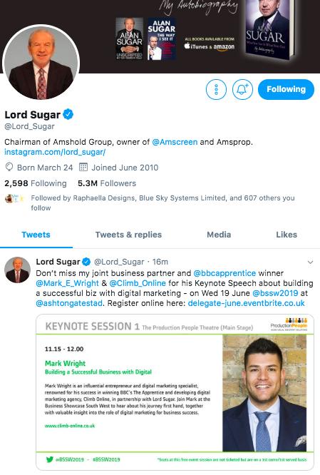 Lord Sugar Tweet re BSSW 17th June 2019.jpg