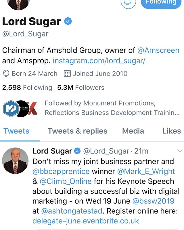 One highlight of last month's Showcase was the tweet of support from #LordSugar about our Keynote speaker Mark Wright of #climbonline - the most successful winner of The Aprrentice. He is speaking again on 23 Oct. Tickets are FREE #FREE #KEYNOTE #EXPO #BSSW