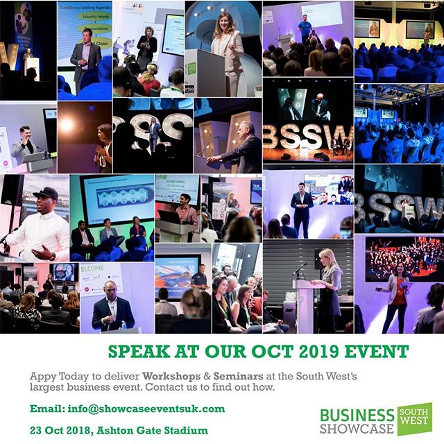 Now Live: Application for Speakers for this October's Business Showcase South West on 23 Oct. Please contact us today at info@showcaseeventsuk.com We have 1 Workshop left alongside Google and 5 Seminars #showcase #expos #speakers