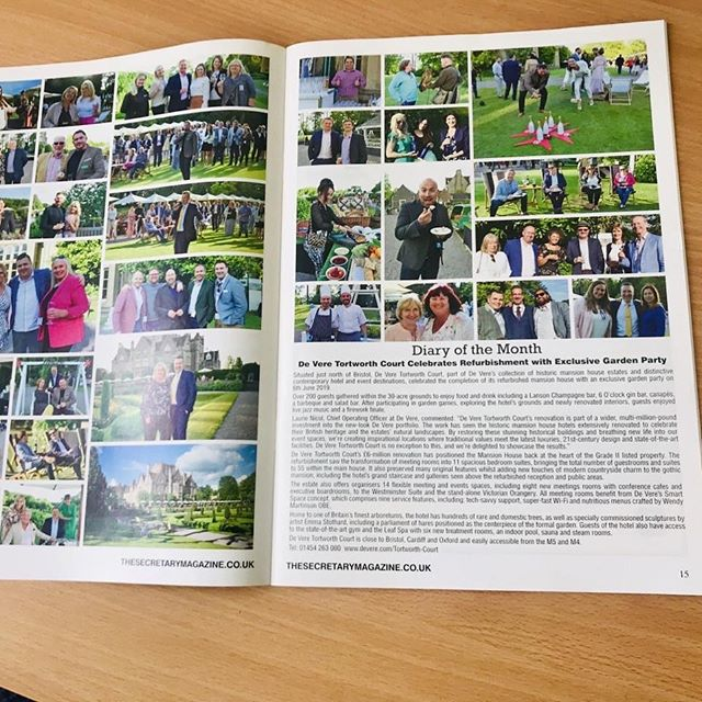 Great to see a page of photos in this month's Secretary Magazine. This double-page spread is all about the amazing Exclusive Garden Party that we helped our Sponsor De Vere put on a few months ago. The team at De Vere Tortworth Court put on a truly spectacular evening with fireworks, champagne and much, much more. We helped by co-inviting CEOs, MDs and business leaders from across the region to ensure the magic of the £6million refurbishment was enjoyed by all. One of the memorable summer events you can imagine. If you want to find out more about booking TorthWorth, contact Robin Craine or GM Raphael Herzog MIH or message me and I will introduce you. Thanks to Whats On Bristol Nikki Cook for coverage. Pictured here include: Alison Edgar FISM MCIM Julian Cook Loraine Morgan-Brinkhurst MBE Tim Murray-Brown Berkeley Harris Terry Cooper Jordan Daykin Katherine Harris Azaria Azzopardi Benjamin Mason Jo Bailey David Crowley Helena L K Jones Tim Stagg Raife Wieland John Ryder  #photos #launchparty #bssw