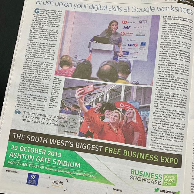 Thank you Google for supporting businesses in the South West. Delegates can attend their free business workshops at our 10th Business Showcase South West on 23rd Oct at Bristol's iconic Ashton Gate Stadium. Thank you again to Mark Kelly and Jessica Godfrey et al for helping us Showcase the best the West has to offer.  #expos #networkingevents #businessnetworking #google #training #bssw  Pictured is former Sponsor Vodafone and Jo Harte with team and The Lord Mayor.