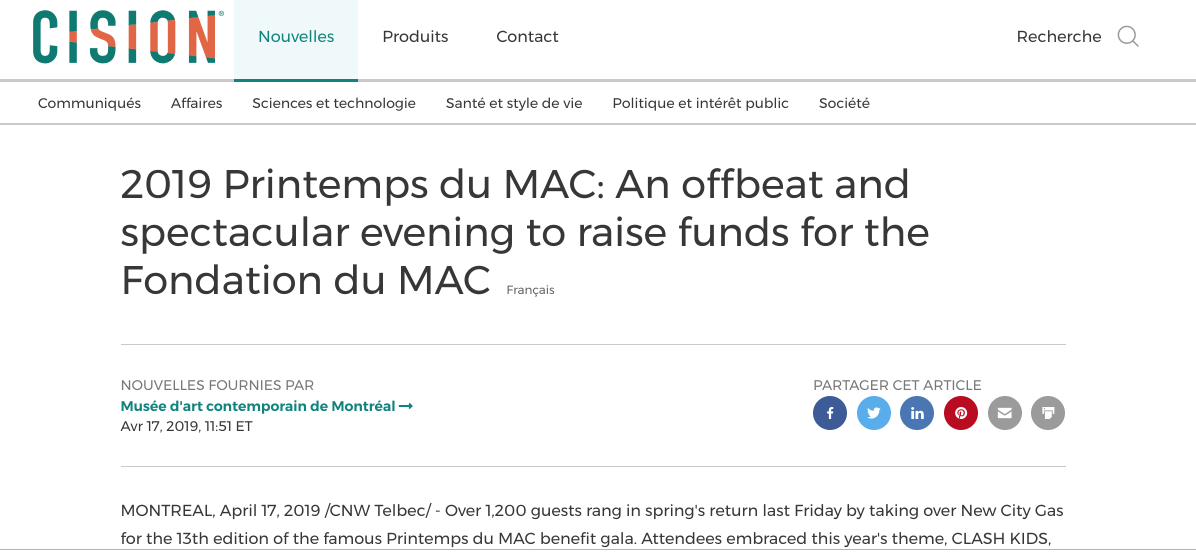 2019 Printemps du MAC: An offbeat and spectacular evening to raise funds for the Fondation du MAC. Cision.  Newswire , 17 avril 2019. L'article complet  ici .