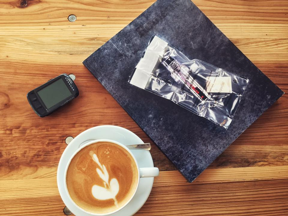 Latte. Rouleur. Wahoo. Record the ride, read the book.