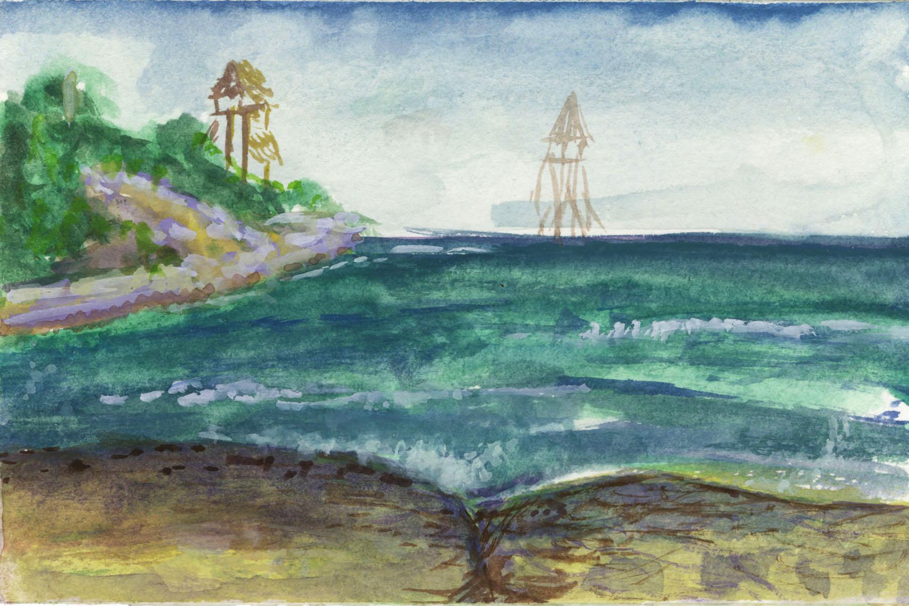 "Isla Mujeres, Gouache, 4 x 6"" 2017."