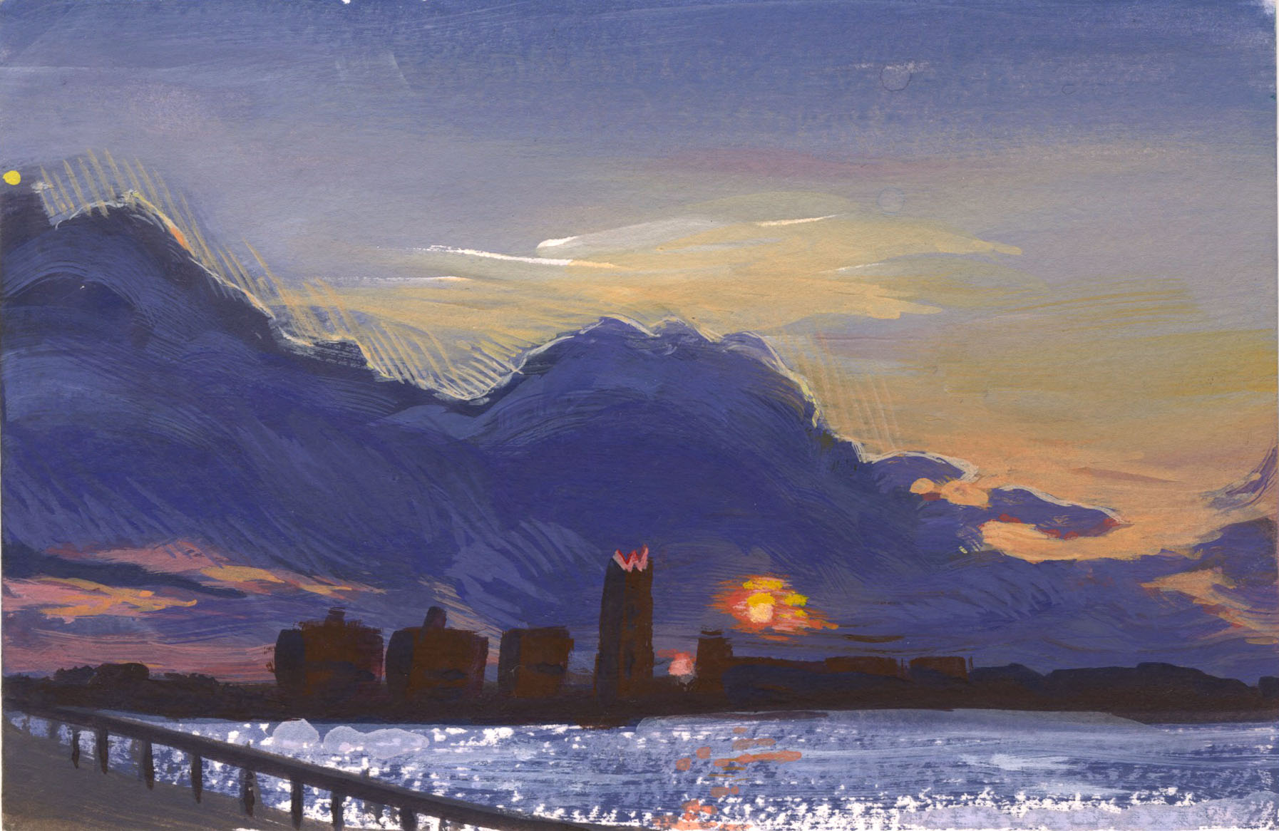 "Chelsea Sunset, Gouache, 4 x 6"" 2017."