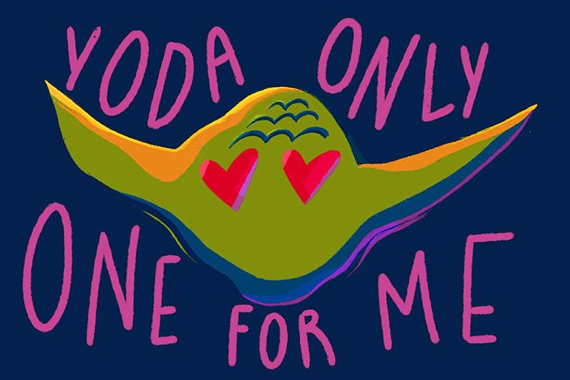 Yoda Valentine's Day card design