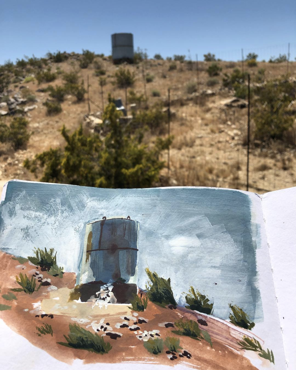 "Water Tank, Joshua Tree, Gouache, 8 x 5"" 2019."