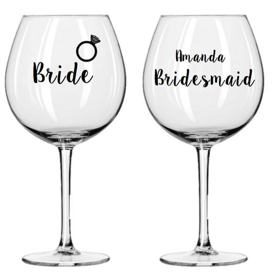 bridal party wine glass - $10.50