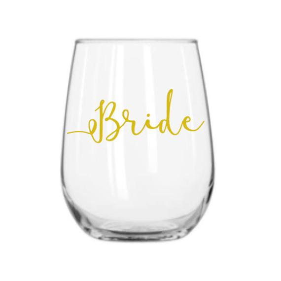 bride wine glass - $10.00