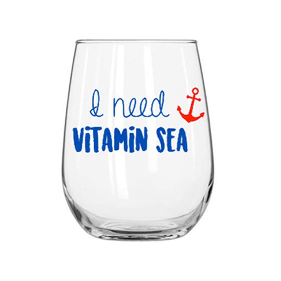 vitamin sea wine glass - $8.00