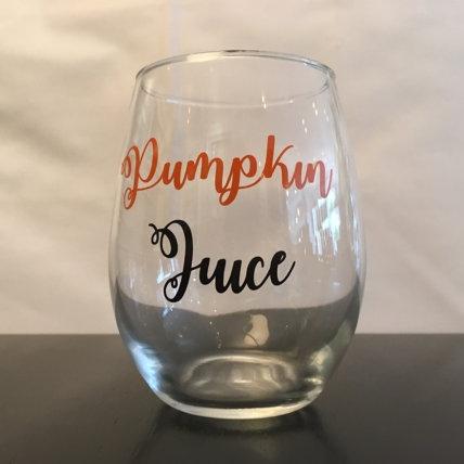 pumpkin juice wine glass - $8.00