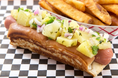 Hawaii Fido  Relish with pineapple, red onion, serrano peppers and cilantro.