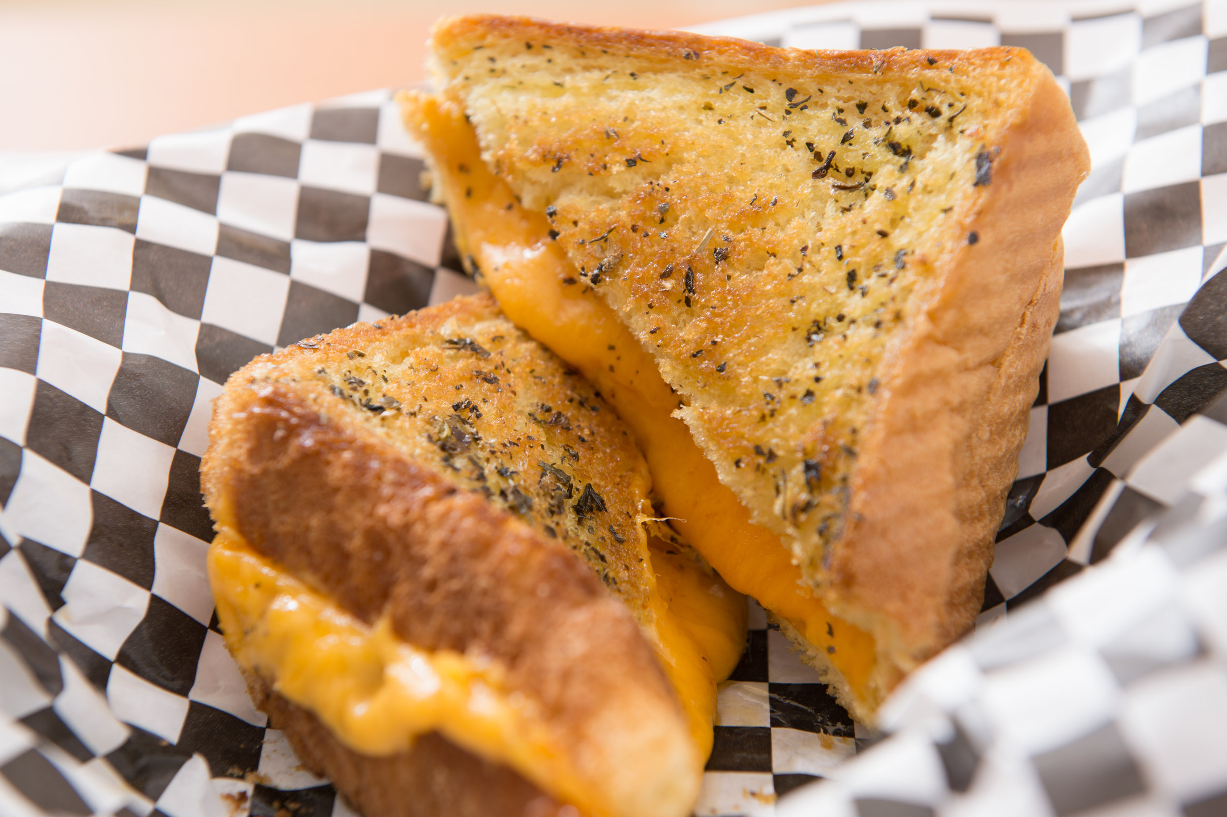 Old School  - Cheddar cheese on basil buttered grilled texas toast.