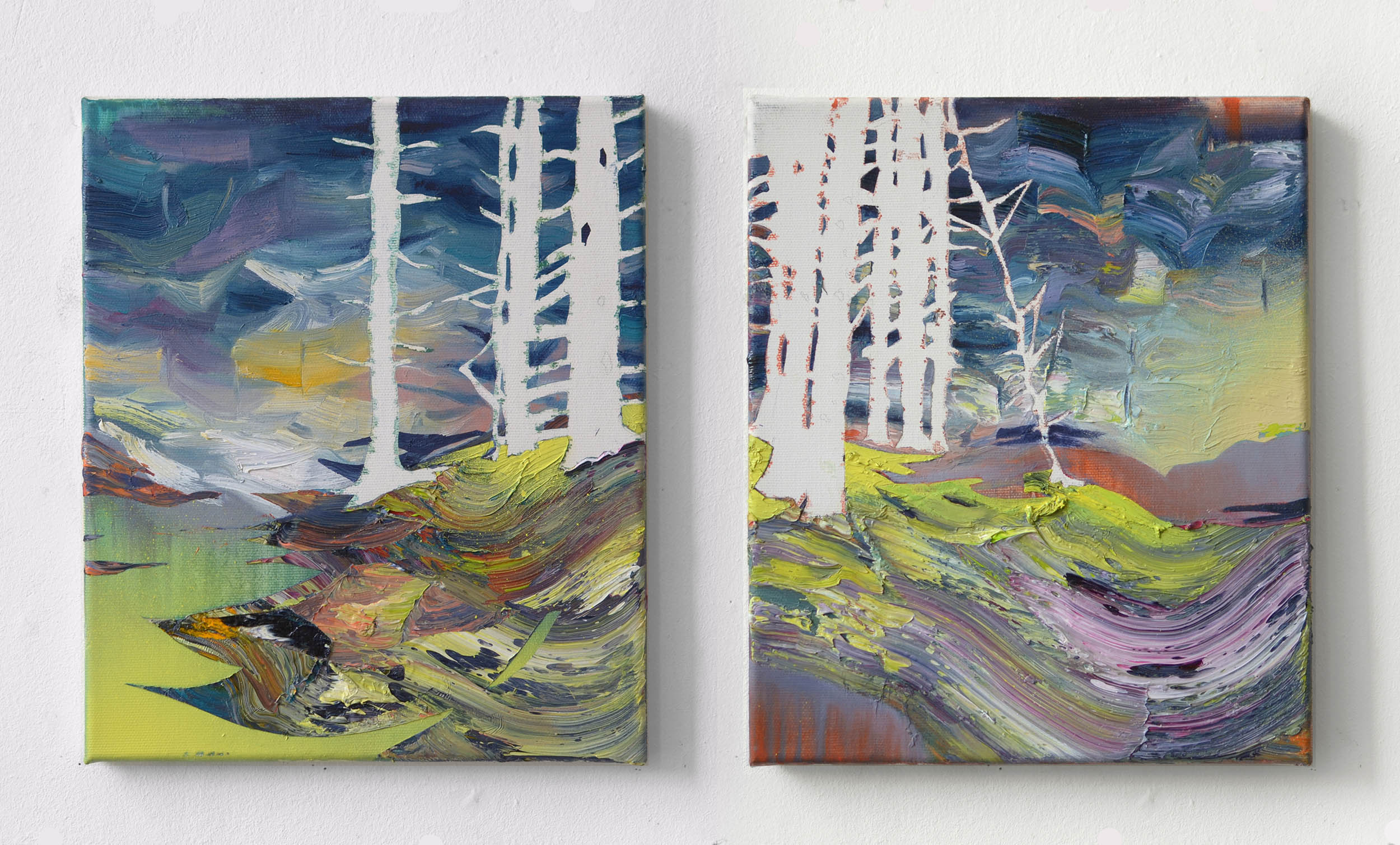 Nadelwald I & II  oil on canvas 30 x 25 cm, 2013