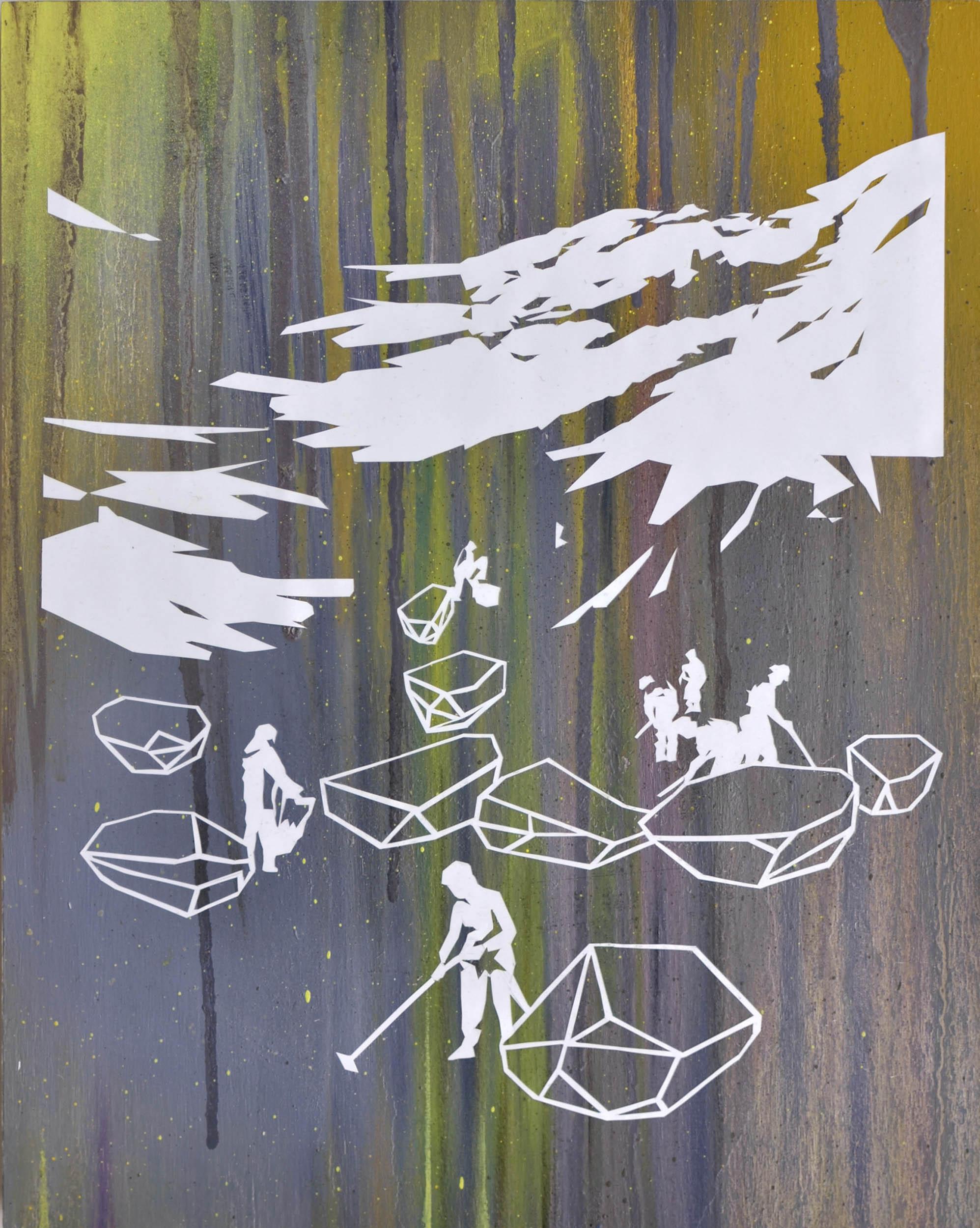 Sucher V  oil, tape on wood 30 x 24 cm, 2015