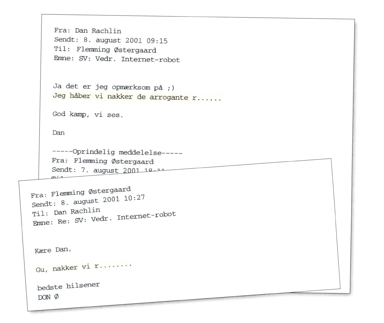 Mails mellem Dan Rachlin og Flemming Østergaard op til kampen mod Lazio.