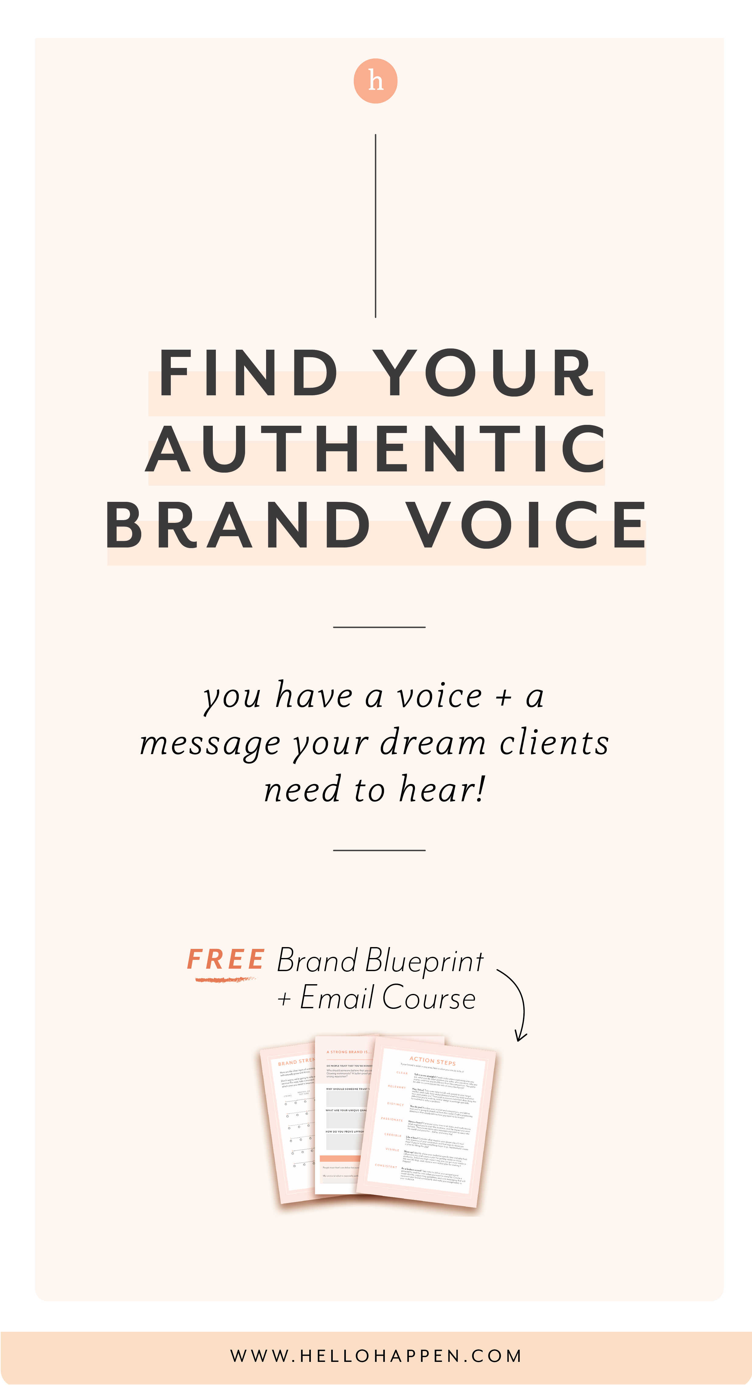 Find your authentic brand voice + message for your customers! Plus, download the free Brand Blueprint. // Hellohappen Brand Strategy