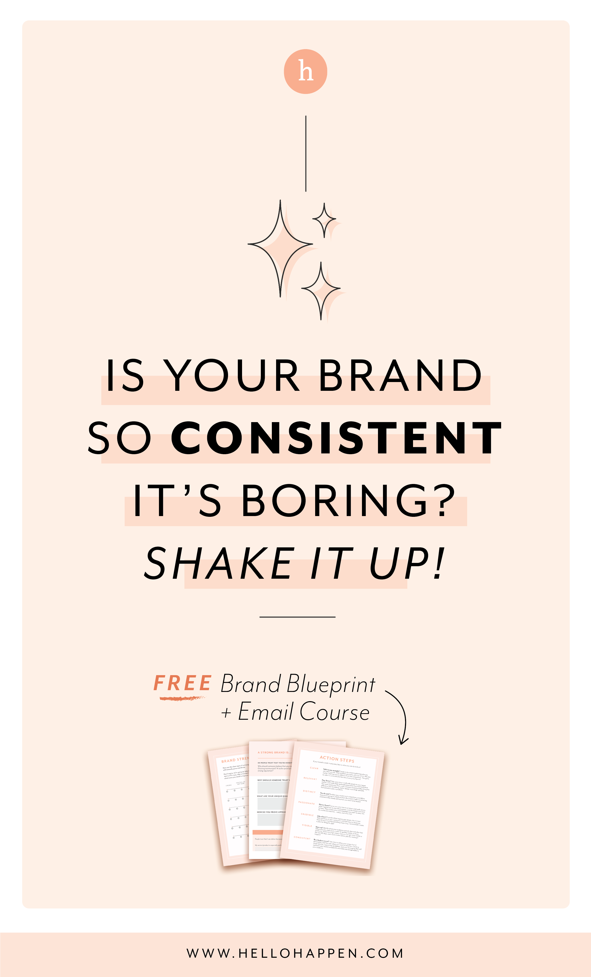 Is your brand so consistent it's BORING? There's a fine line to walk to stay on-brand while keeping things fresh. Read the post, plus download the free Brand Blueprint + email course. #brandstrategy // Hellohappen Brand Strategy