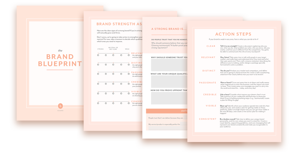 Brand Blueprint template + workbook plus email course in brand strategy. #brandstrategy // Hellohappen Brand Strategy