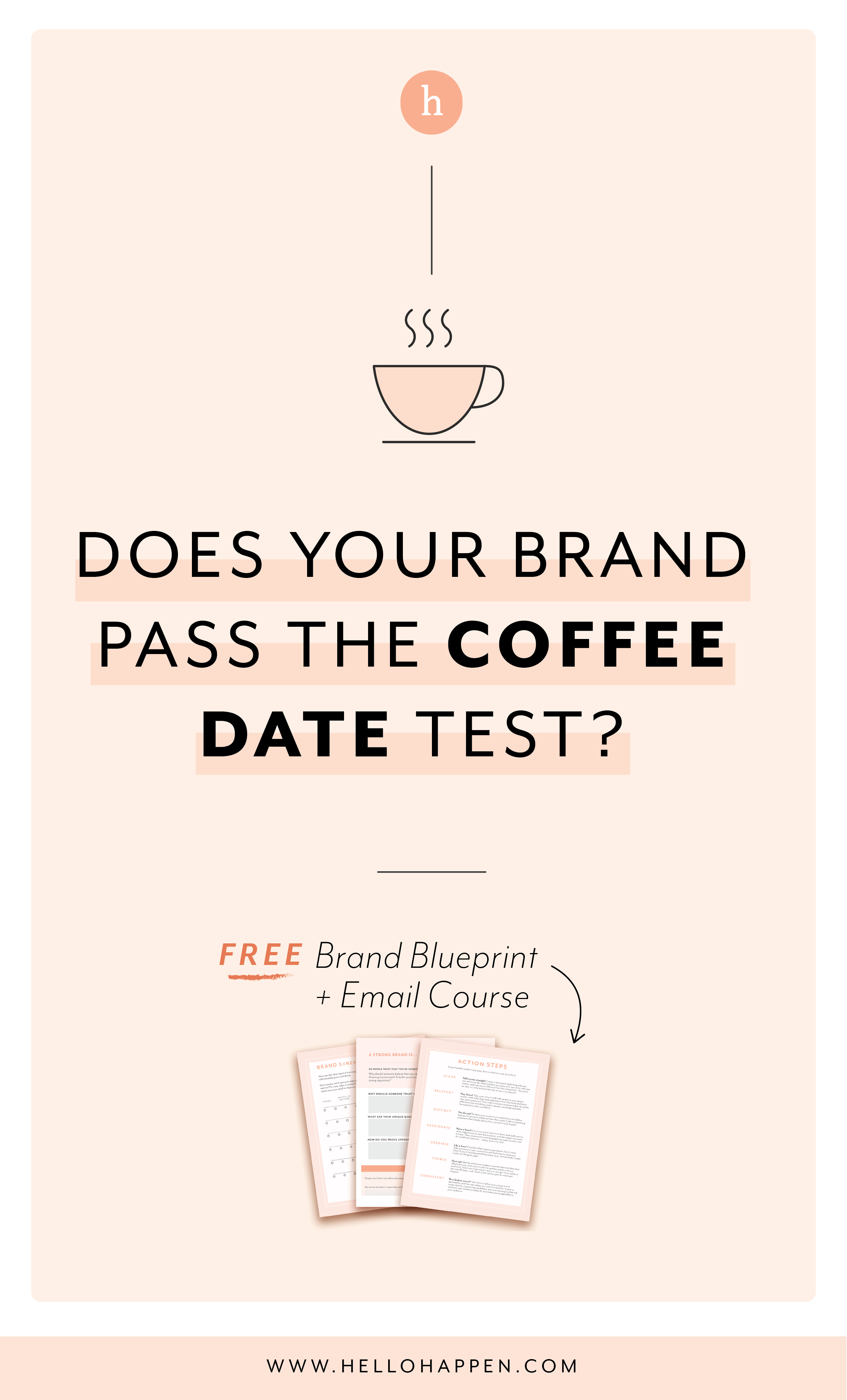 The Coffee Date Test - my simple way to know if your brand is connecting with your dream clients! Read the post, plus download the free Brand Blueprint + email course. #brandstrategy // Hellohappen Brand Strategy