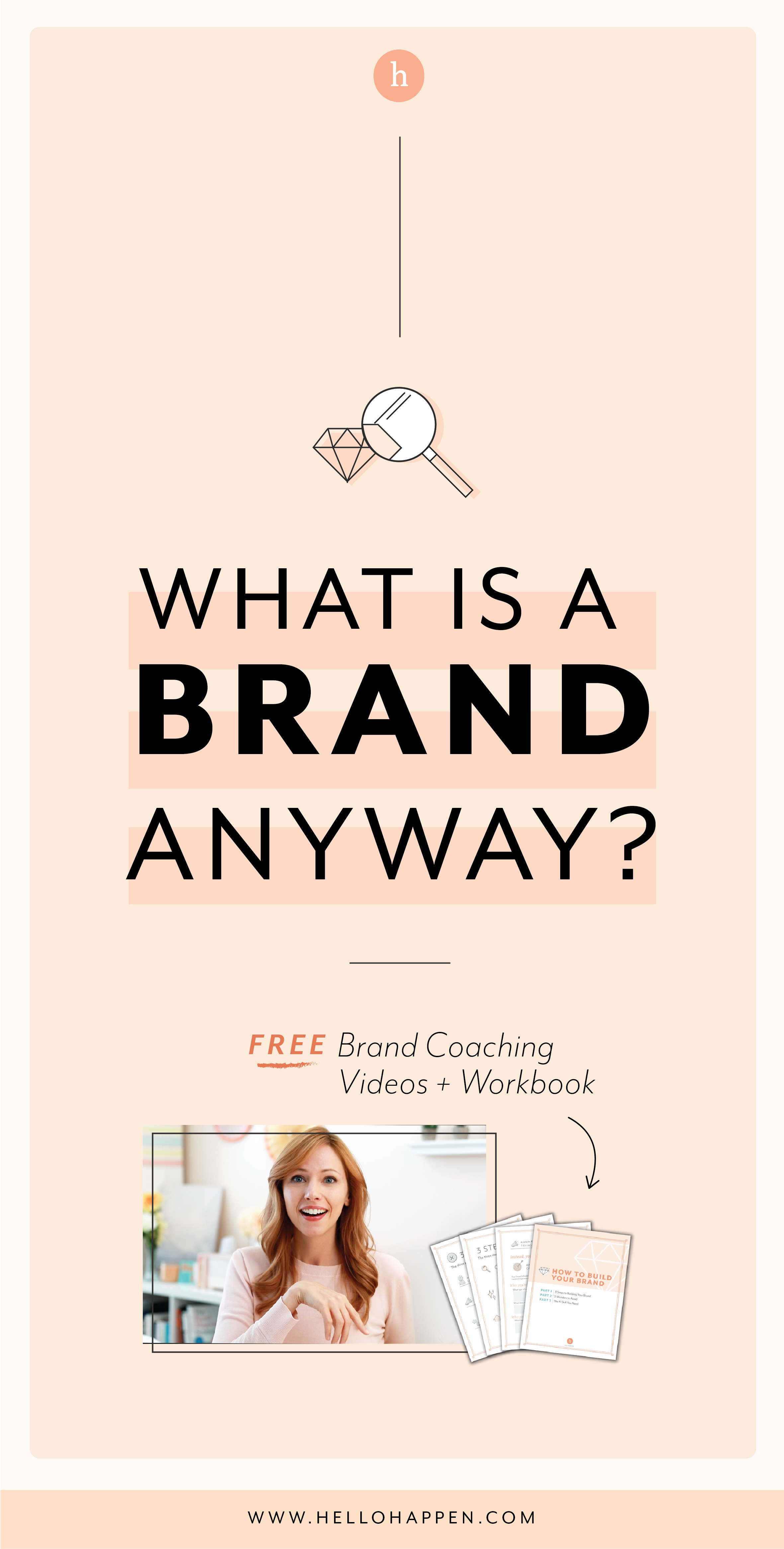 What is a brand anyway? It's not a logo or a tagline! Read the post, plus download the free Brand Blueprint + email course. #brandstrategy // Hellohappen Brand Strategy