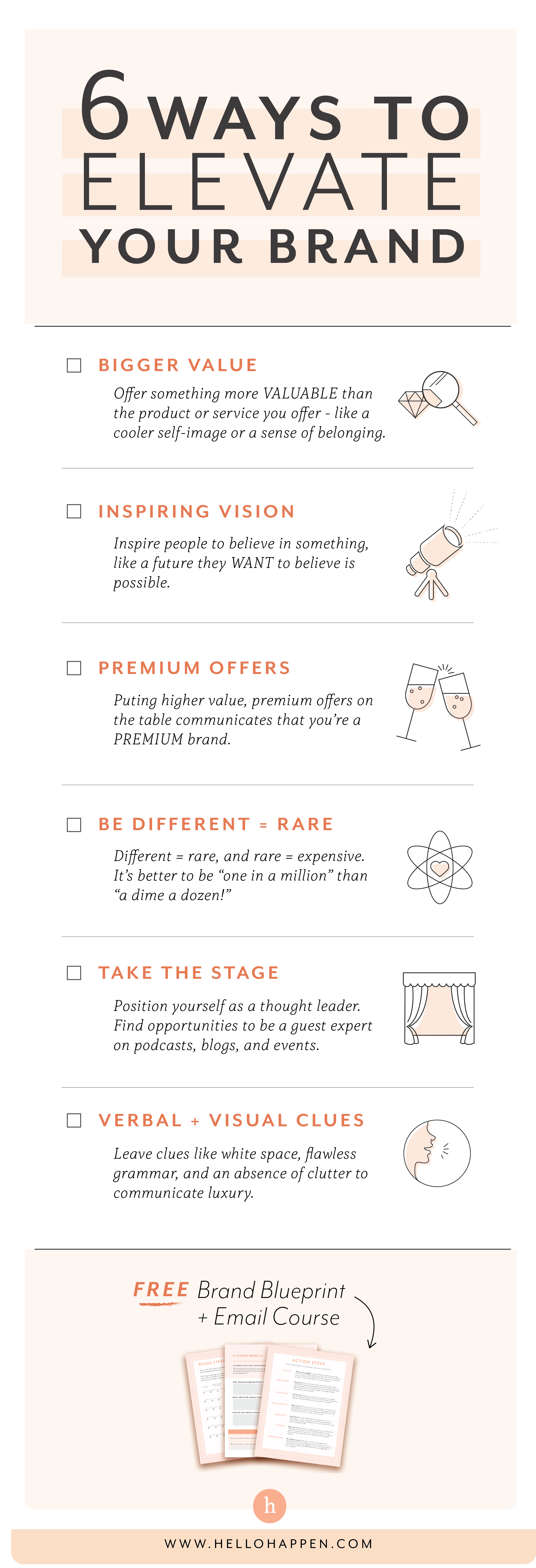 If you want to build a premium brand, you have to ELEVATE it in people's minds. Here are 6 methods you can use today! // Hellohappen Brand Strategy / brand strategy for passionate entrepreneurs #salesstrategy #mindfulbusiness