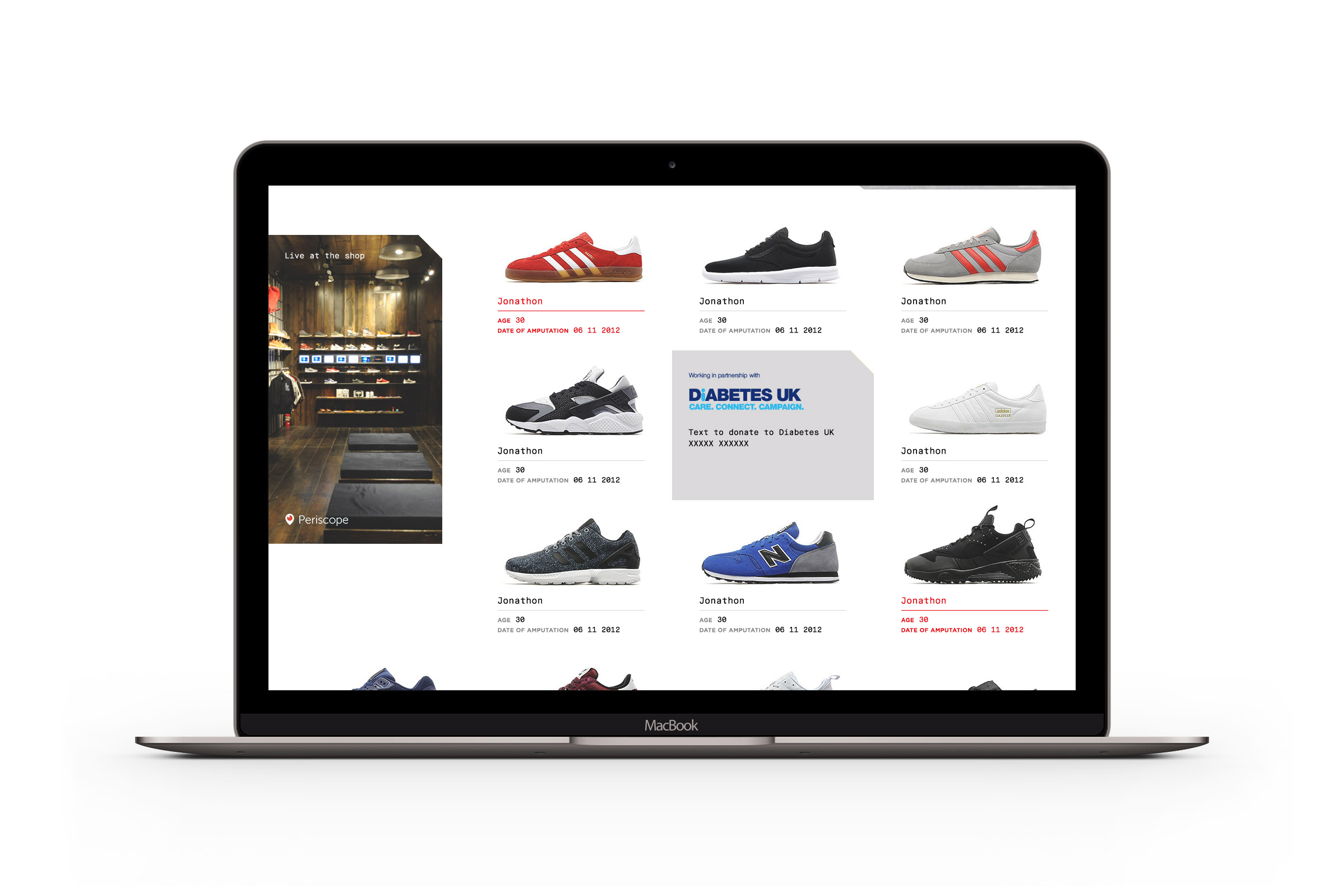 Posing as an online shoe store, a website featured photographs of shoes from amputees, and encouraged people to take their risk score.