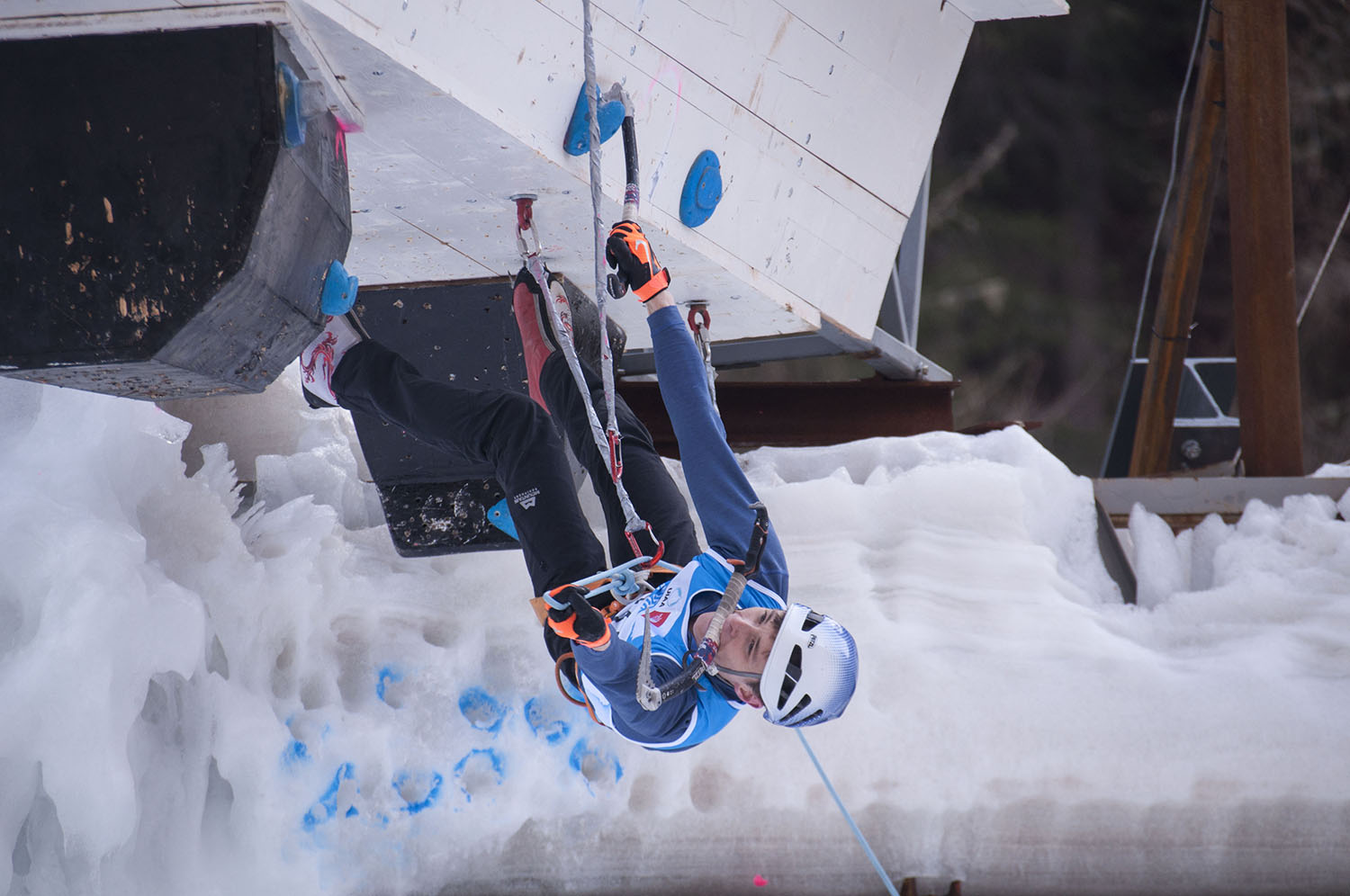 Justin Willis competing at the UIAA Ice Climbing World Cup in Rabenstein Italy