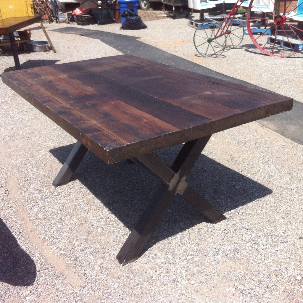 3x3 X Base, complete with Reclaimed wood top