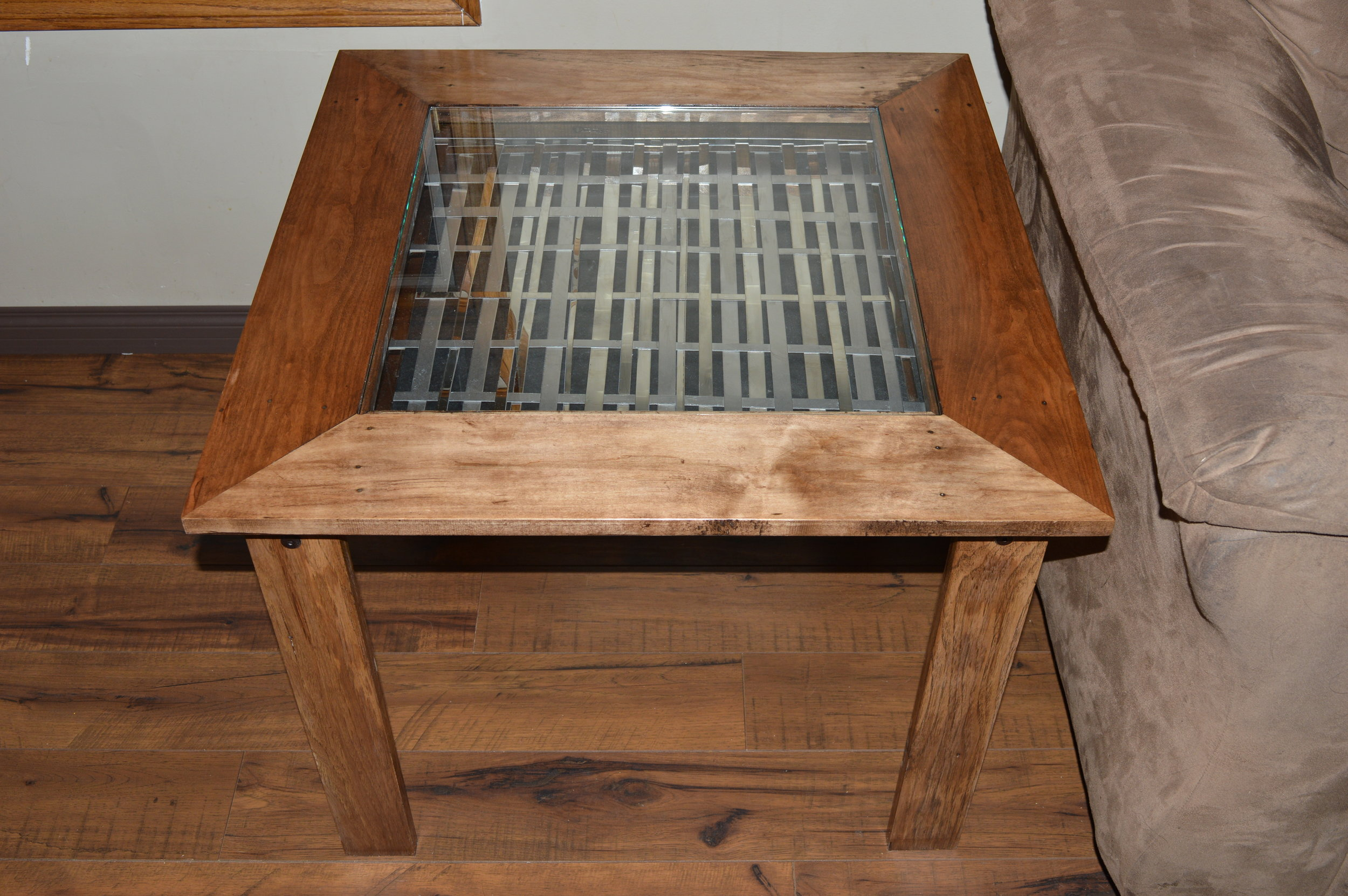 Reclaimed Pallet Wood End Table with Stainless Weave insert