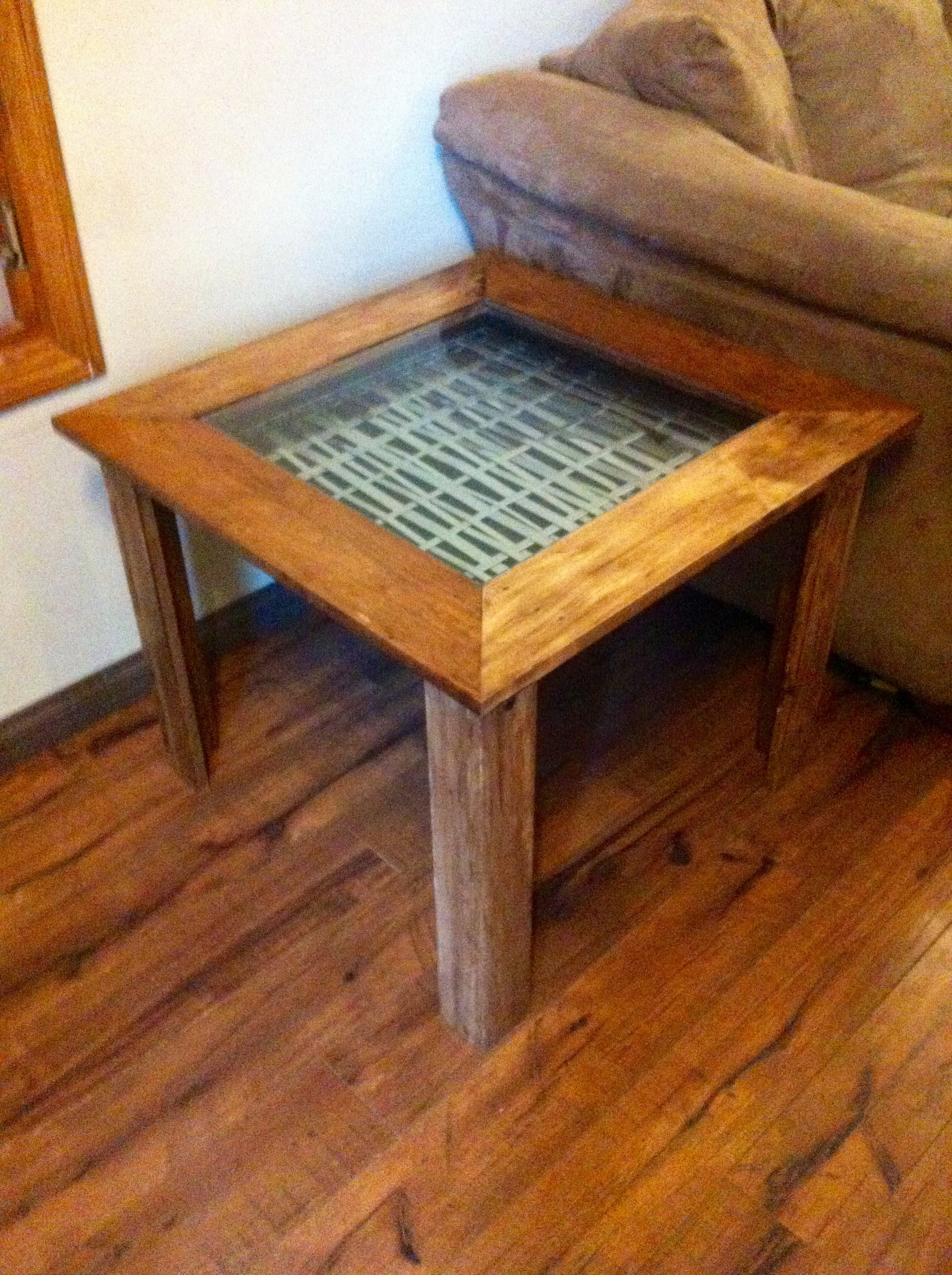 Reclaimed Pallet Wood End Table w/ Stainless Steel Weave insert