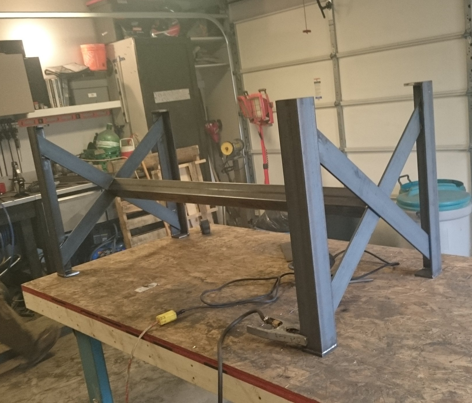 3x3 Angle and Flatbar Cross legs w/removable rail