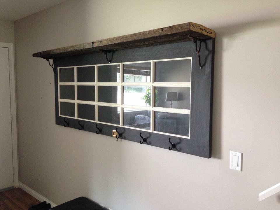 Reclaimed Door Coat Rack/Shelf