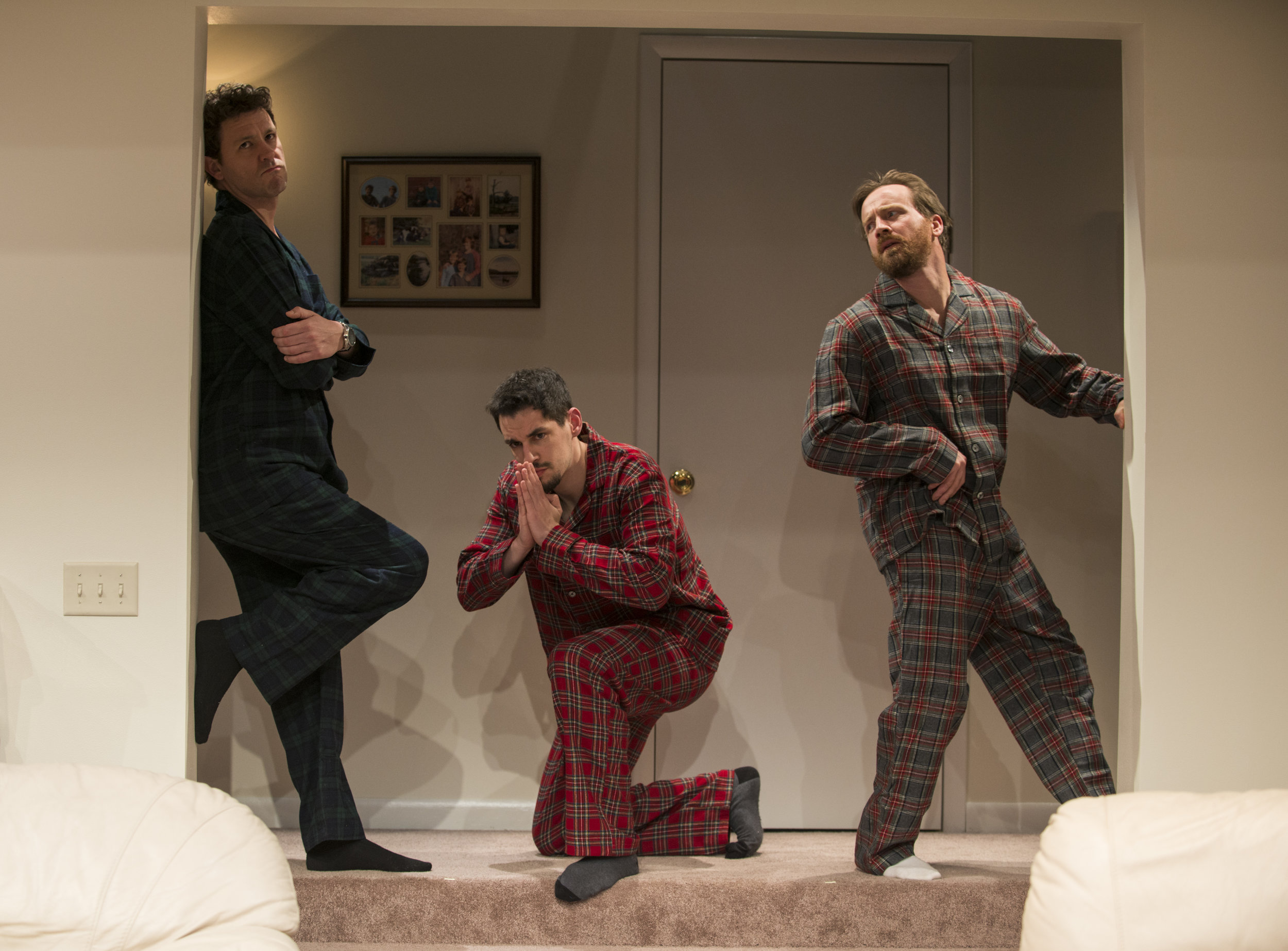 Madison Dirks (Jake), Ryan Hallahan (Drew) and Brian Slaten (Matt) in Steppenwolf's production of  Straight White Men , a Chicago premiere written and directed by Young Jean Lee. Photo by Michael Brosilow.
