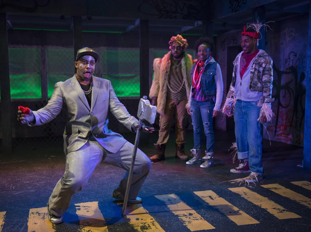 (left to right)  Steven Perkins ,  Chuckie Benson ,  Sydney Charles  and  Gilbert Domally  in  Kokandy Productions'  revival of  THE WIZ.  Photo by Michael Brosilow.