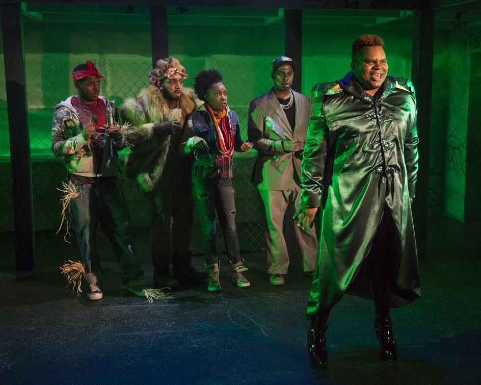 (left to right)  Gilbert Domally ,  Chuckie Benson ,  Sydney Charles ,  Steven Perkins  and  Frederick Harris  in  Kokandy Productions'  revival of  THE WIZ . Photo by Michael Brosilow.